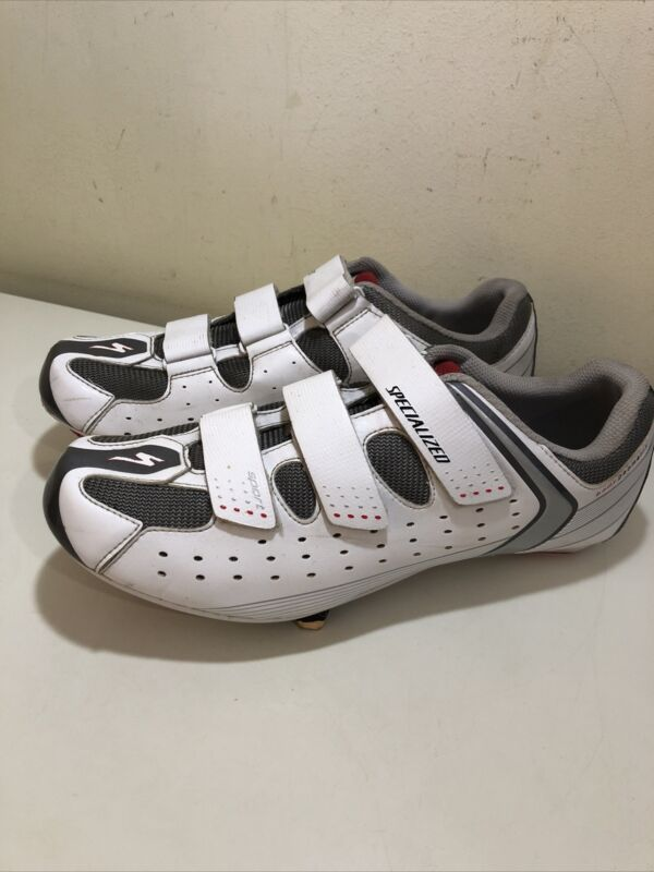 SPECIALIZED UK 11 EU 45 SPORT RD WHITE GREY CYCLING ROAD SHOES MENS USED