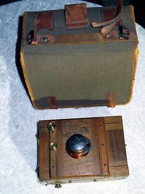Plattenkamera / Balgenkamera mit Rodenstock Bistigmat 9x12 mit Tasche um 1880
