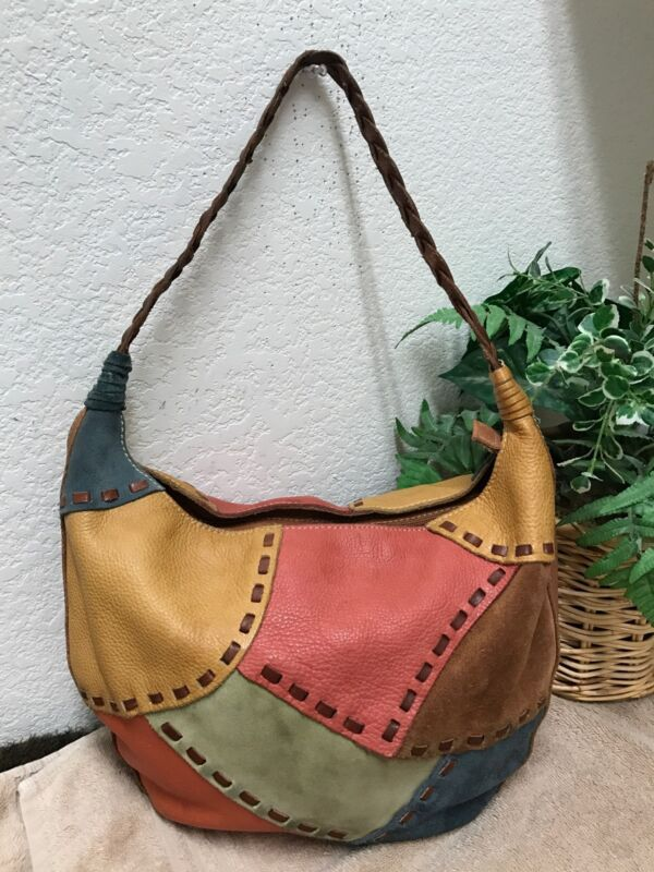 Fossil Multicolor Patchwork Suede Leather Boho Hippie Hobo Bag Shoulder Handbag