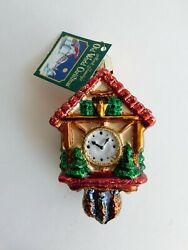 Old World Christmas Hand Blown Glass Glittered Cuckoo Clock Christmas Ornament