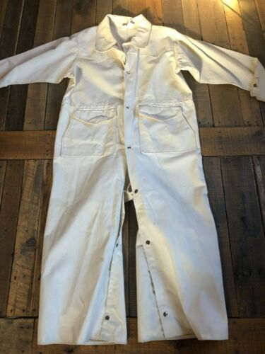 VTG CANVAS COVERALLS Garage Work Wear All Snaps Western Flare PAINTER PANTS L
