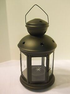 IKEA-Rotera-Tealight-Candle-Holder-Black-Lantern-Metal-Star-Glass-Yard-Home-deck