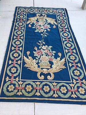 Vintage Antique Victorian Handstitched Needlepoint Tapestry Wall Area Rug for sale  Fontana