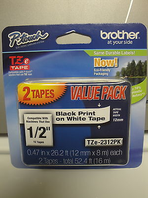 2 Brother Tze-231 12mm 12 Label Cassette Black Print White Tape Original Oem