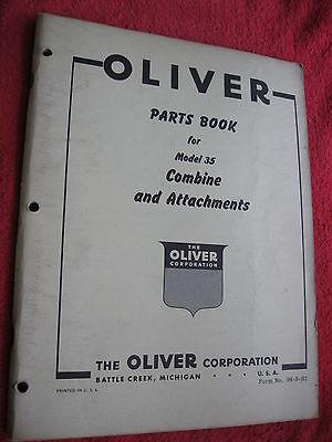 Original 1955 Oliver Model 35 Combine Attachments Parts Book Manual Catalog
