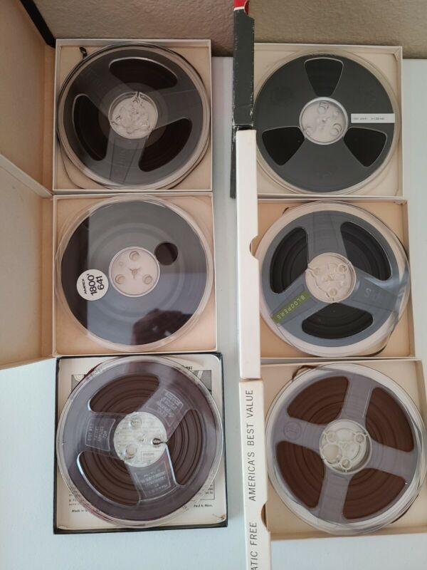 """LOT: 9 Used  7"""" REEL TO REEL RECORDING TAPES 1/4""""x 1200- 1800 FEET Tape"""