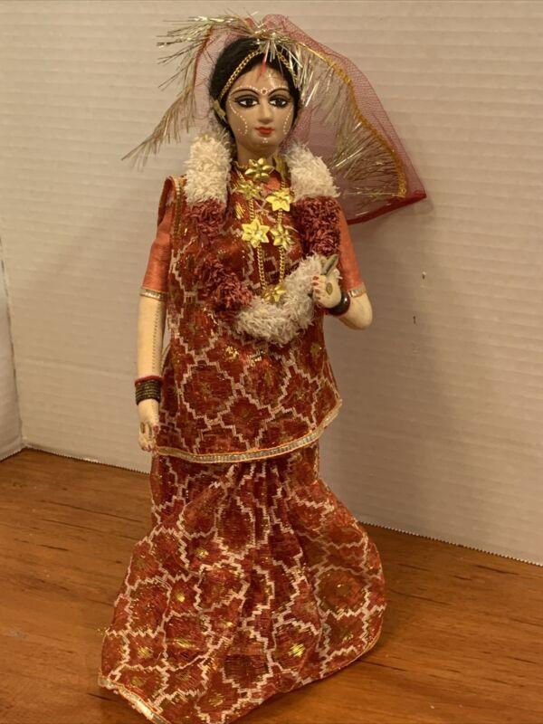 Old Vintage India Hindi Jewels 12 Inch Doll Folk Art Hindu Beautiful Rare Find