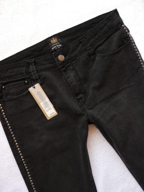 NEW River Island Ladies Jeans Size 10 R super skinny black grey side studs 30/30