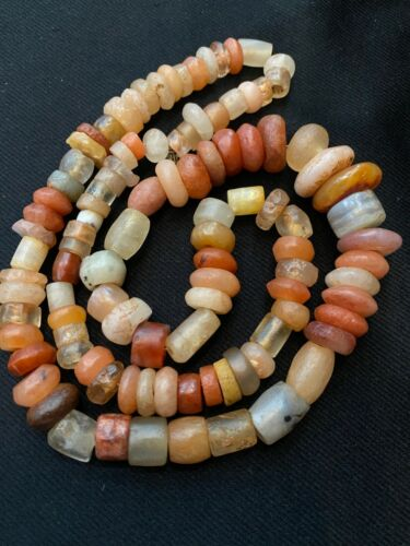 Ancient Neolithic carnelian agate and quartz African stone beads Mali