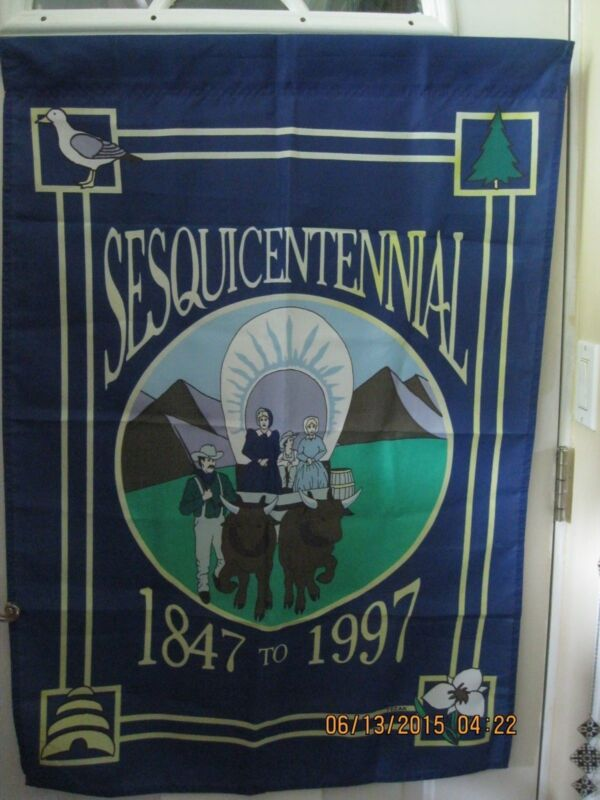 "UTAH  Sesquicetennial Banner  1847 to 1997 -- Large Size 41"" x 29""."