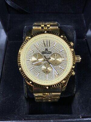 Men's Diamond Watch ICETIME Royal 45mm Steel Gold Plated  Steel Diamond Casual Watch