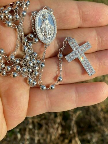 Rosary Beads Necklace Real Solid 925 Sterling Silver Rosario Iced Baguette ITALY