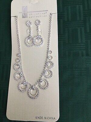 New Crystal Rhinestone Earring Tear Drop Necklace Bridal Bridesmaid Jewelry Set