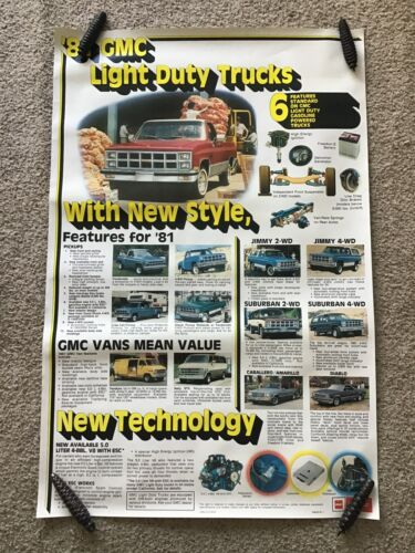 1981  GMC Trucks  full line  dealership showroom poster, size 25 by 38 inches.