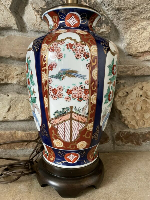 Japanese Imari Porcelain Hand Painted Ginger Jar Lamp