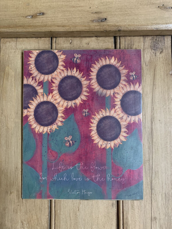Folk Art Primitive Sunflowers On 8x10 Canvas Board