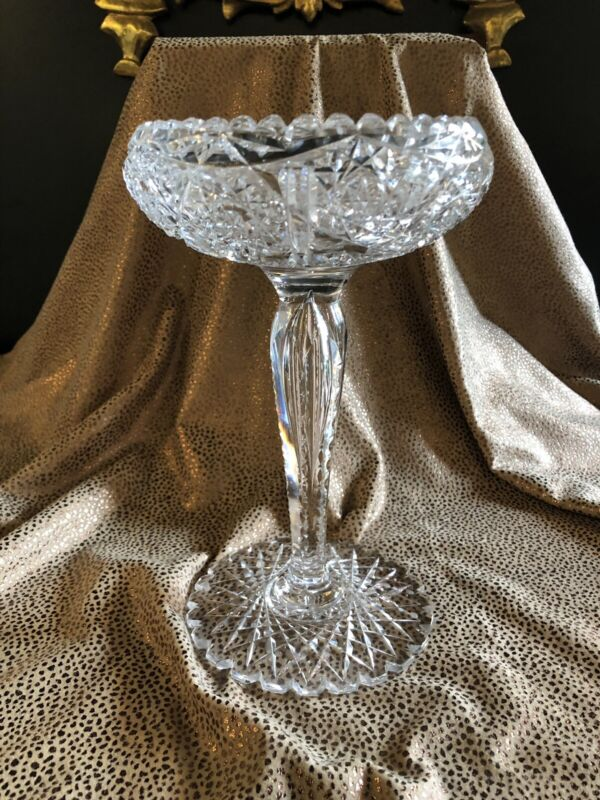 Antique American Brilliant Period ABP Clear Cut Glass Pedestal Compote