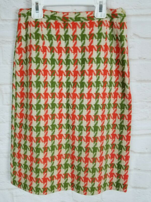 "Vintage 70s Girls Skirt Unbranded Wool 22""W Pencil Houndstooth Orange Green"