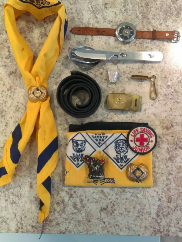 Vintage Cub Scout Lot Rare Wrist Compass/ Key Belt Clip And More