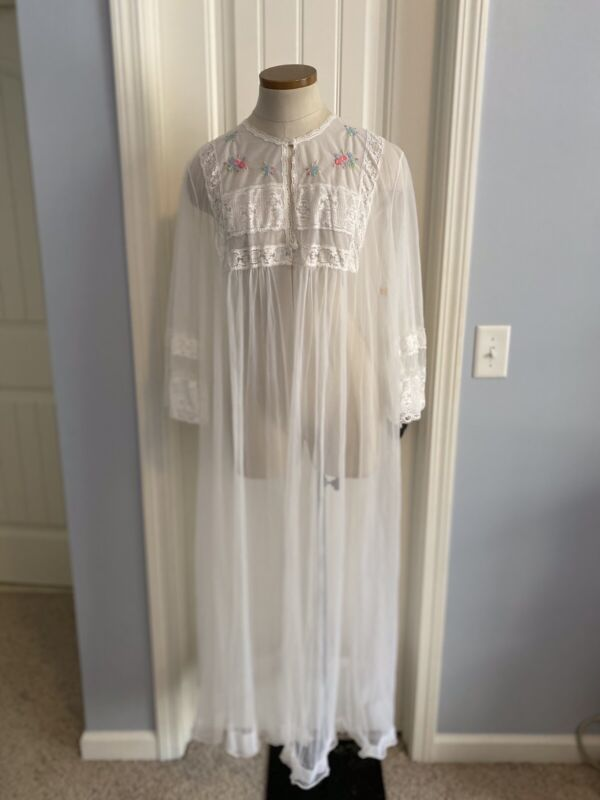 VINTAGE Sears Women's Large 38-40 Sheer White Robe Long Length BRIDAL