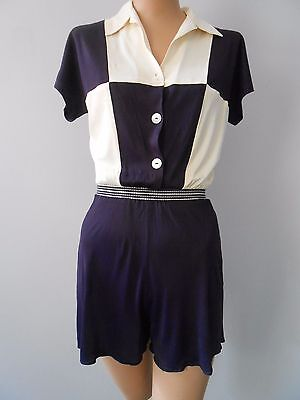 Spectacular Vintage 1940s Romper Playsuit Jersey Checker Board Rare Must See