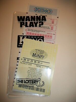 LOTTERY TICKET HOLDER SLEEVE PROTECTOR ENVELOPE KENO STYLE 2 NEW - Lottery Ticket Holder