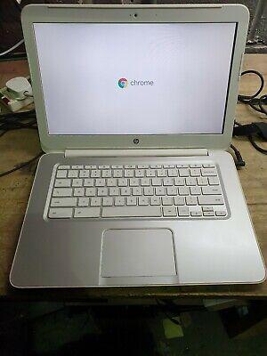 "HP White Chromebook laptop 14.0"" 16GB SSD 4GB HDMI Usb 3 WiFi webcam Chrome OS"