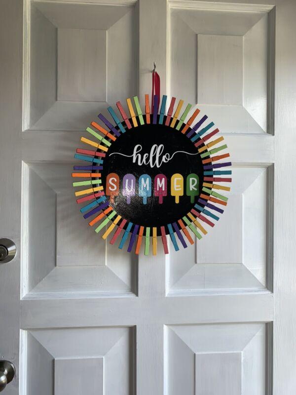 "Handmade ""Hello Summer"" Clothespin Wreath!"