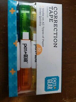 Pen Gear Correction Tape 0.2in X 19.7 Ft 10 Rolls Per Box White Out New