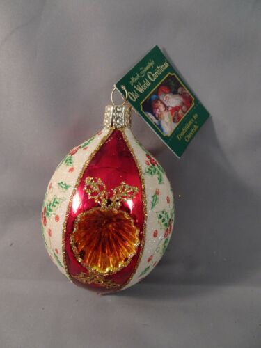 """NOS w Tag 2007 Old World Christmas OWC GILSTENING HOLLY REFLECTOR 3.5"""" Indent"""