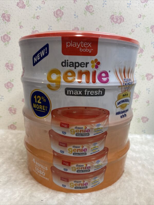 Playtex Diaper Genie clean laundry scent 4 Refills Holds up 1080 diapers Free 🚢