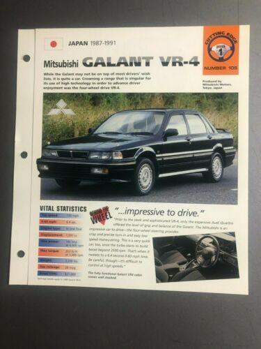 "1987 - 1991 Mitsubishi Galant VR-4 IMP ""Hot Cars"" Spec Sheet Folder Brochure"
