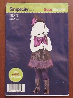 SIMPLICITY PATTERN SEW SIMPLE - 1980 GIRLS WITCH COSTUME HALLOWEEN 1/2-4 UNCUT - Simple Halloween Costumes Girls
