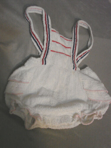 Vintage 50s Girls Childs Swimsuit CARTERS Terrycloth snaps 1 yr Ruffles Toddler