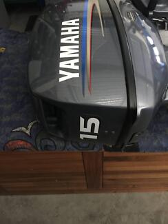 YAMAHA 15HP OUTBOARD MOTOR. AS NEW