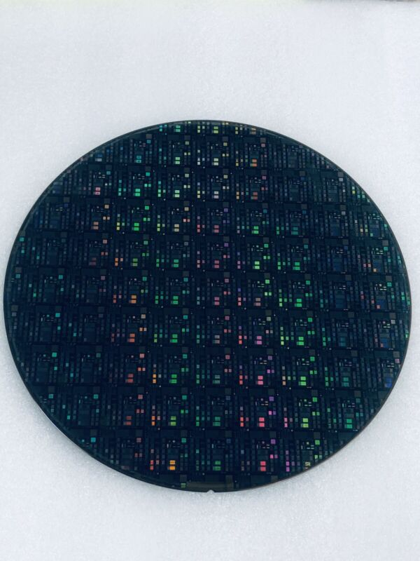 """silicon wafer. 8""""Microchip Pattern waffer on silicon"""