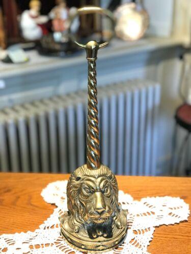 SOLID BRASS ANTIQUE LION HEAD DOORSTOP WITH LONG HANDLE