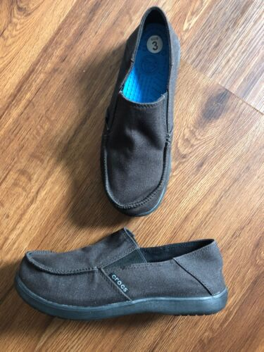 Boys Crocs Size 3 Slip On Loafers Dark Gray NWOT
