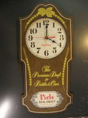 "PIELS PREMIUM BEER WOOD WALL CLOCK  "" PIELS TIME""  BATTERY OPERATED"