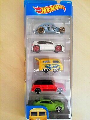 Mattel Hot Wheels Volkswagen 5 Pack Golf, Beetle, Kombi, Type 181, Beetle DJD20