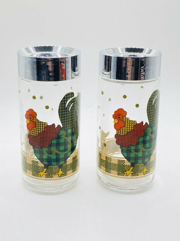 Vtg Anchor Hocking Rooster Glass Salt & Pepper Shakers Chicken Plaid Gingham