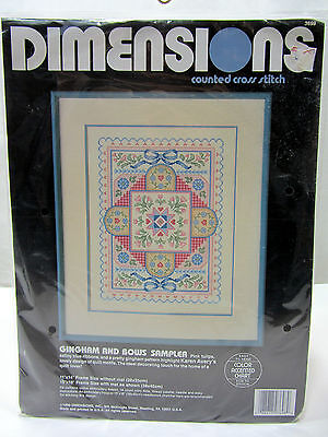"Dimensions ""Gingham & Bows Sampler"" Counted Cross Stitch Kit 3698 New"