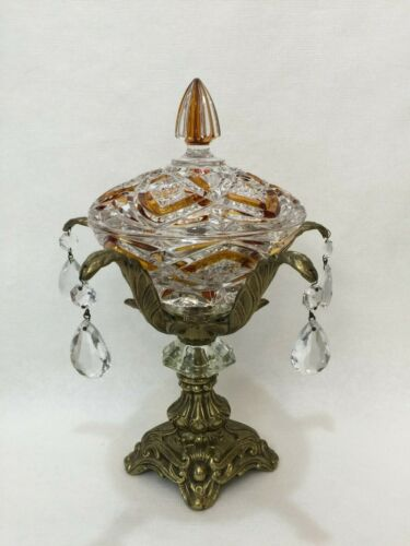 Vintage Art Glass Amber Accents Lidded Compote w/Prisms & Brass Tone Pedestal