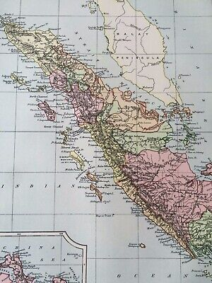 1875 Sumatra Original Antique Map Indonesia