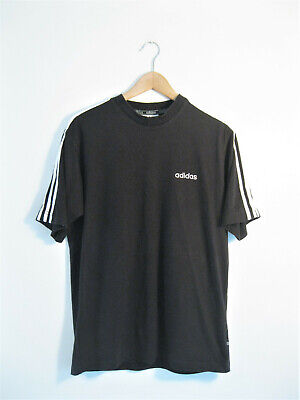 adidas | Men's Retro Vintage Black 3-Stripe Oversized Spell Out T-Shirt | S M