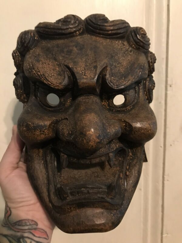 RARE Hand Carved Wooden Fudomyoo Noh Mask Japanese Buddhist Tattoo Art Fudo Myoo
