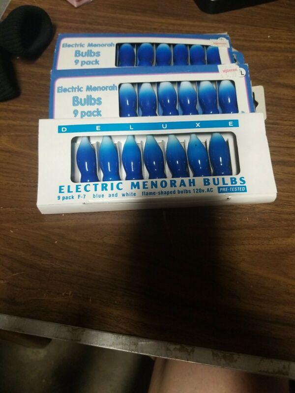 VGT RARE STARBRIGHT MENORAH BULBS, BLUE & WHITE F-9 FLAME Lot of 3, 25 lights