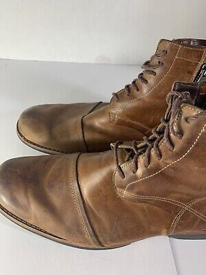TIMBERLAND Earthkeepers Men's Leather Boots Brown Zipper & Lace Size 11.5 19558