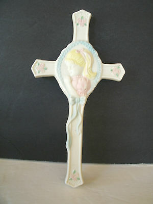 First Holy Communion Porcelain - PORCELAIN FIRST HOLY COMMUNION CROSS, LITTLE GIRL, PINK FLOWERS, BLUE BEADS