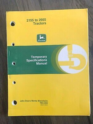 John Deere 2155 To 2955 Tractor Temporary Specification Technical Manual Tm4450